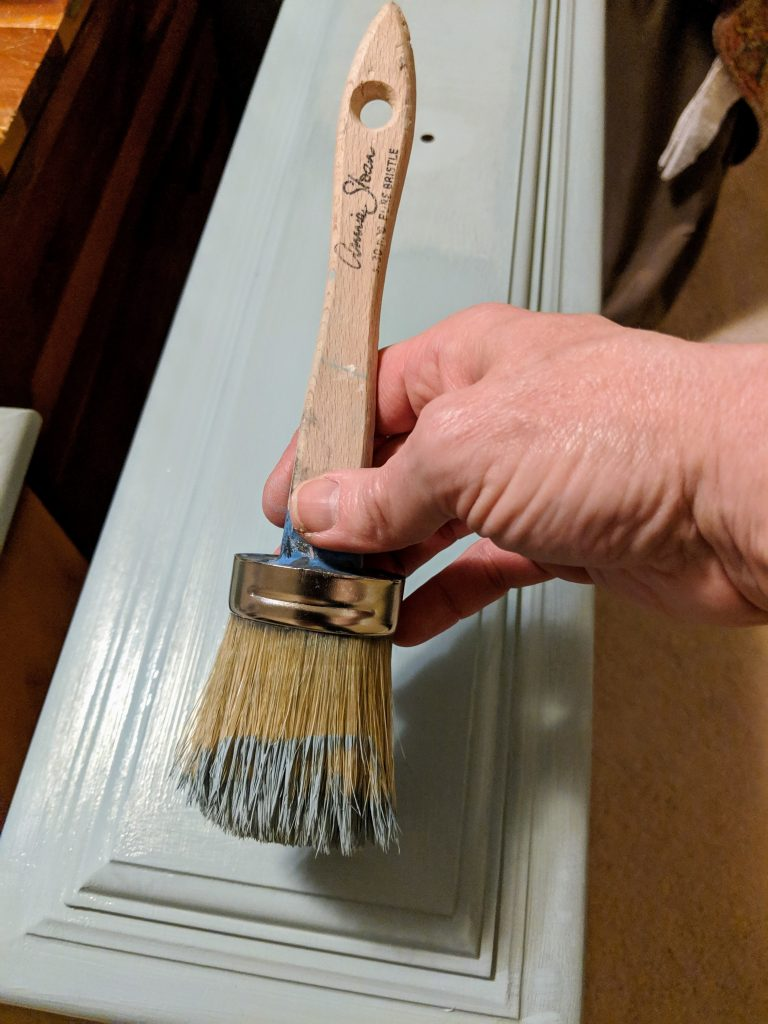 Annie Sloan Duck Egg being applied - how to chalk paint furniture