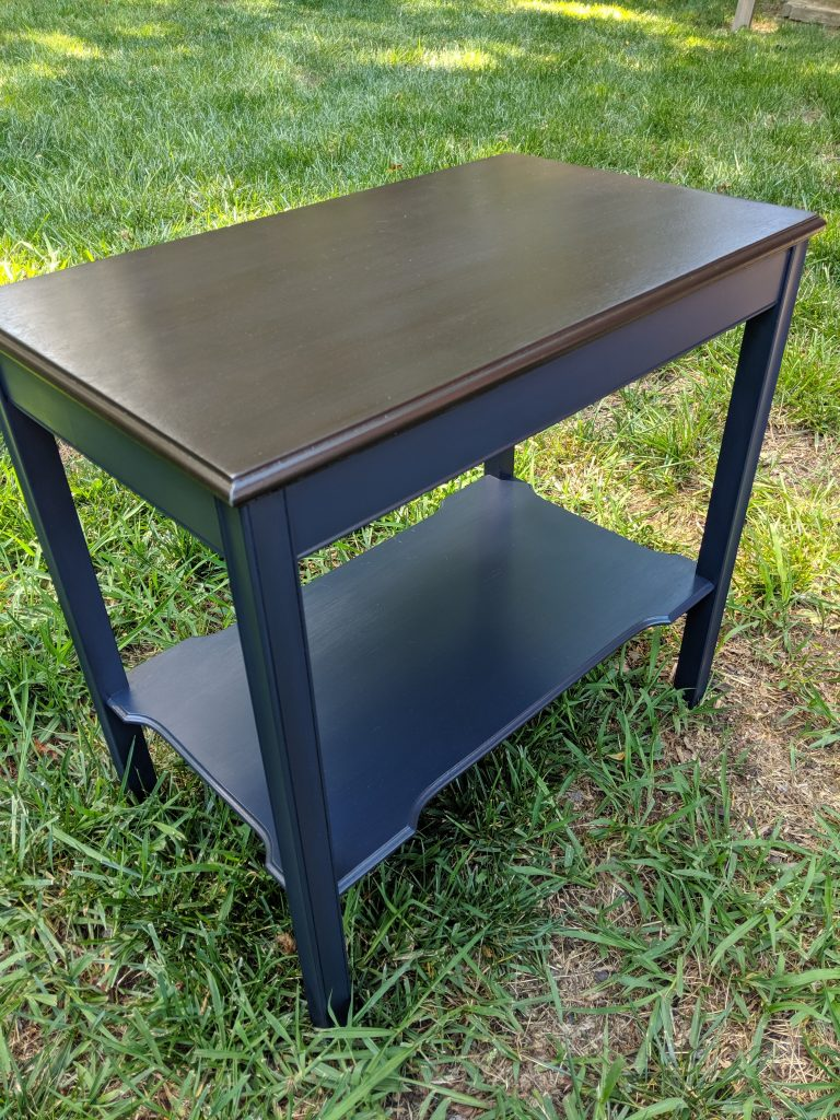 End Table Painted with Blue and Finished with Black Glaze and a Java Gel Stained Top