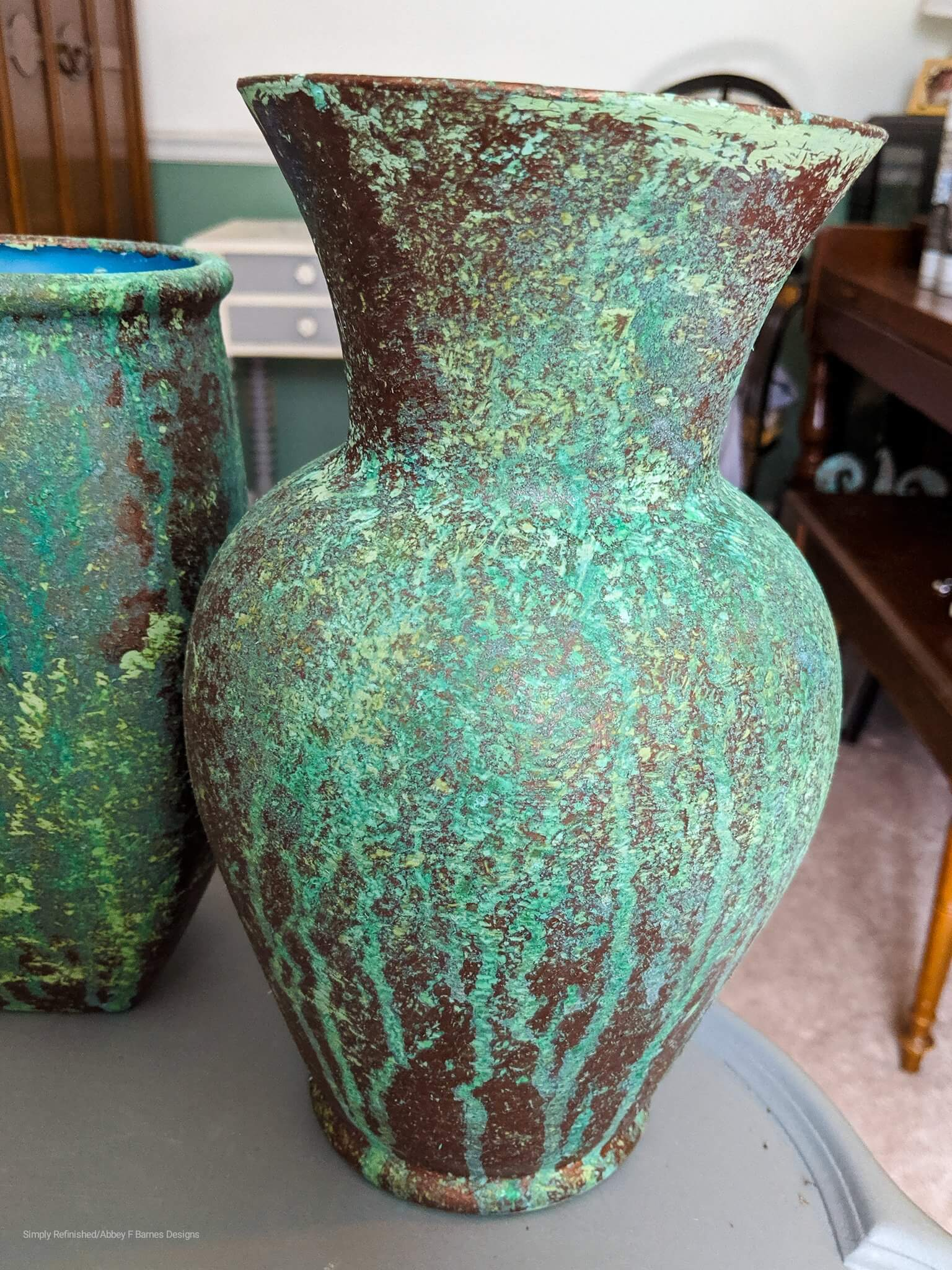 green patina finish on glass vase