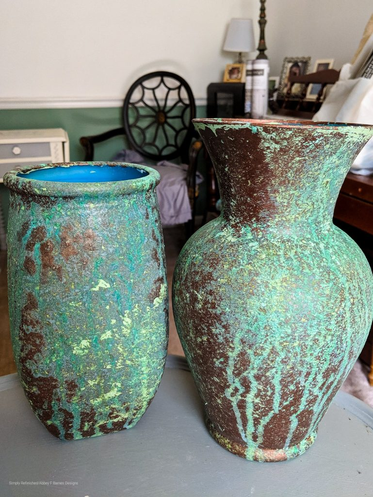 Glass Vases with Copper Patina Paint and Green Spray. Paint underneath is a sea green