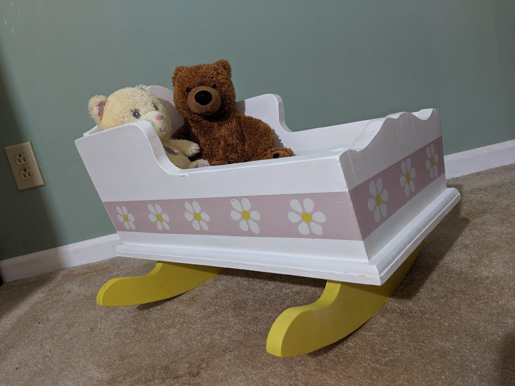Painted and Stenciled Wooden Doll Cradle