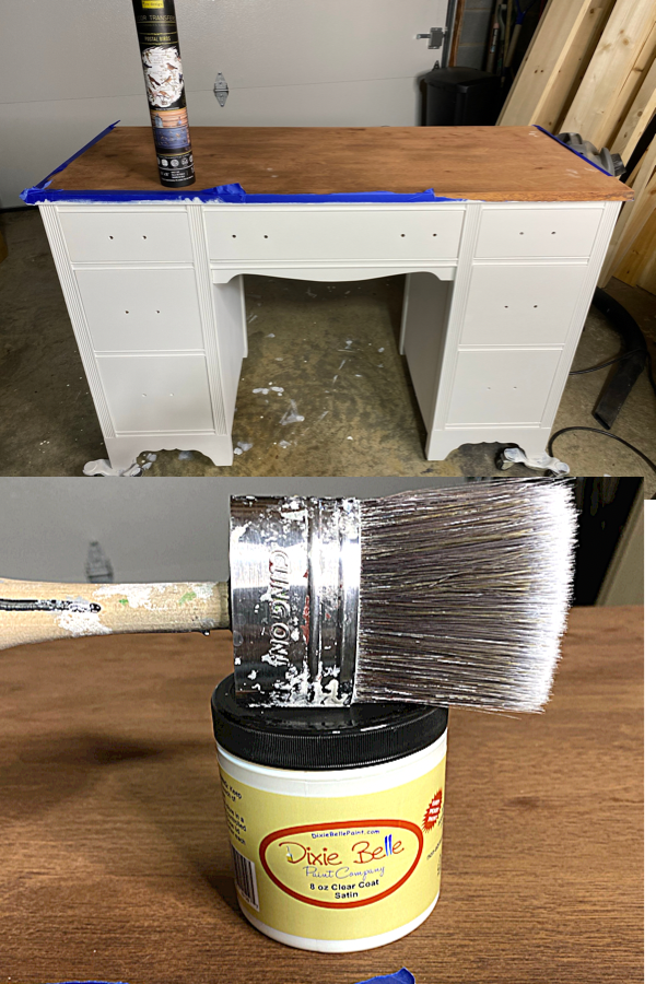 Painting the desk white with Cling On S50 and Dixie Belle Cotton