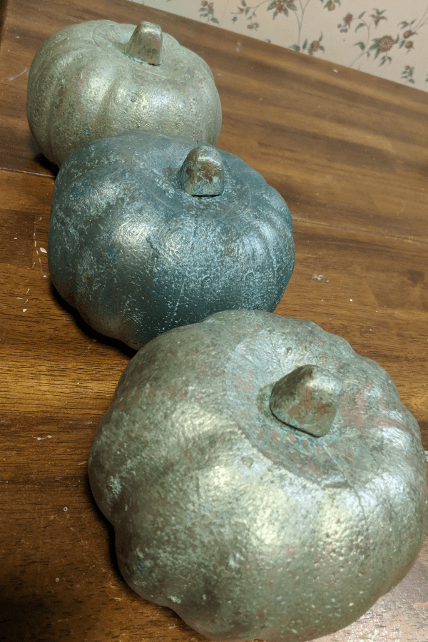 Painted Dollar Tree Foam Pumpkins with Patina and Moonshine Metallics