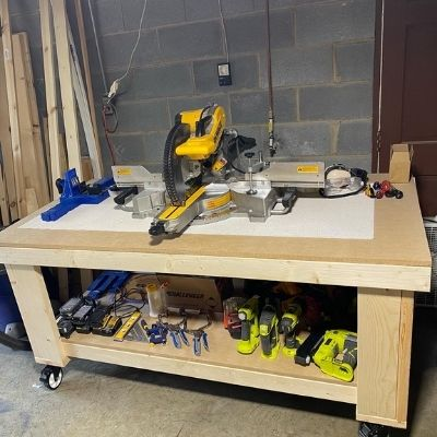 My Big Workbench I built using many of the tools in this top ten DIY tools list