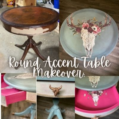 Round Accent Table Makeover With Dark Wax, Chalk Paint, and a Rustic Transfer
