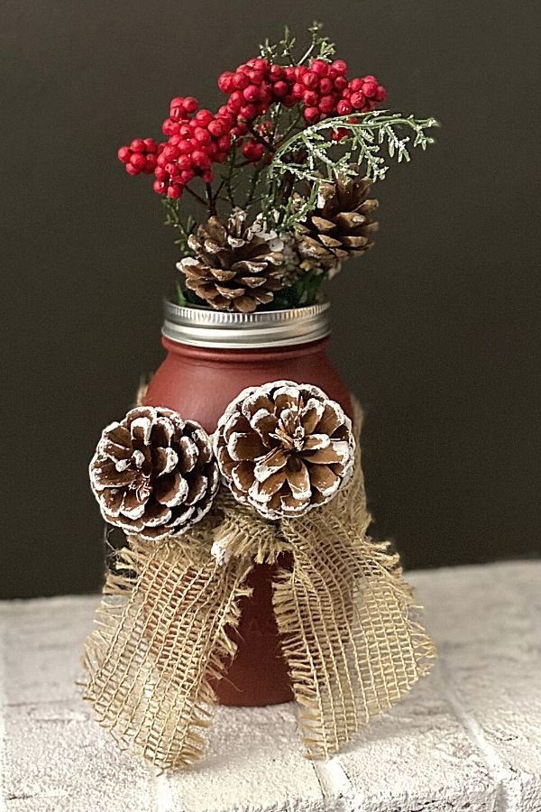 Mason Jar Painted With Chalk Paint and Styled For Christmas DIY Decor