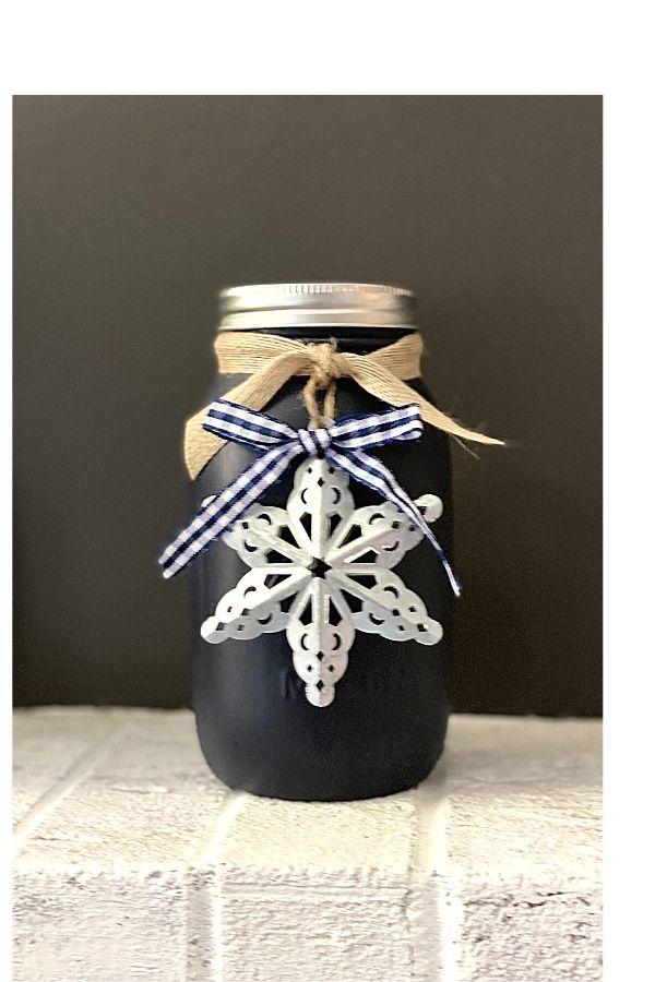 Chalk Painted Mason Jars Styled For Winter Holiday DIY Decor