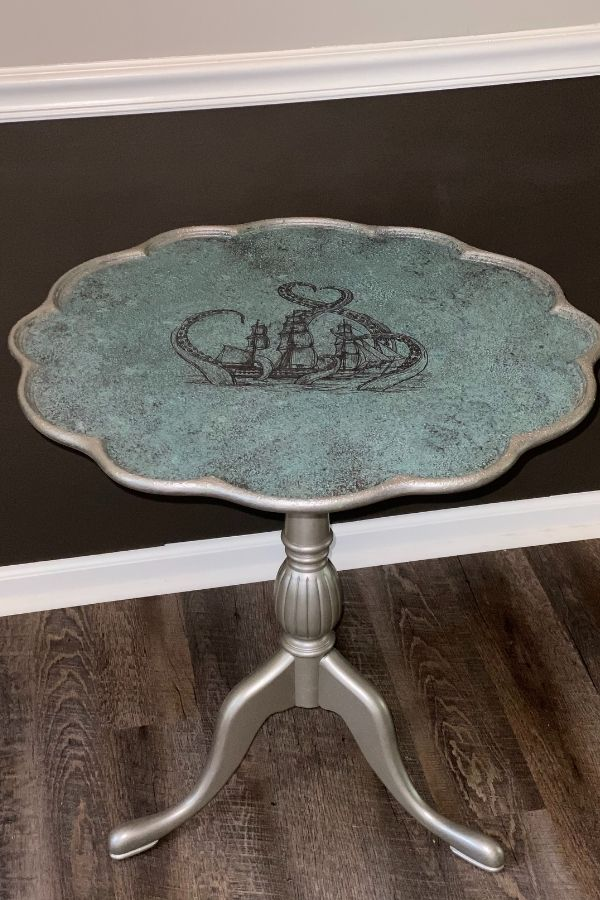 Another look at the Patina Painted Tabletop with Texture Finish and Nautical Transfer