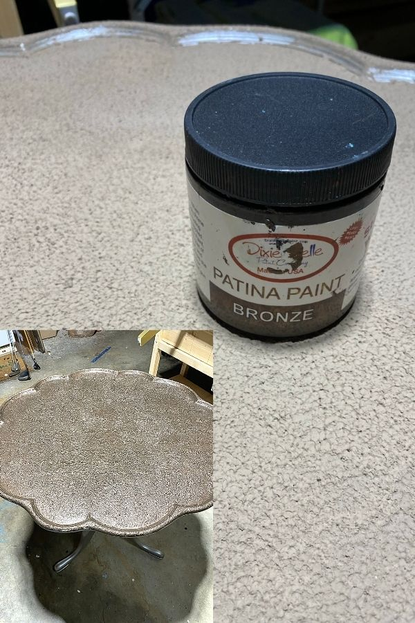 Dixie Belle Mud painted tabletop with texture and first coat of bronze patina paint