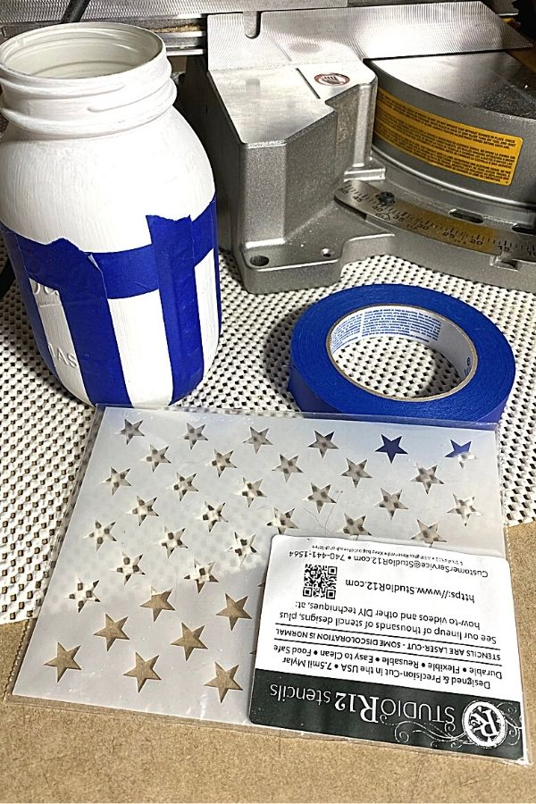 Supplies List for Americana Painted Stars and Stripes mason Jars