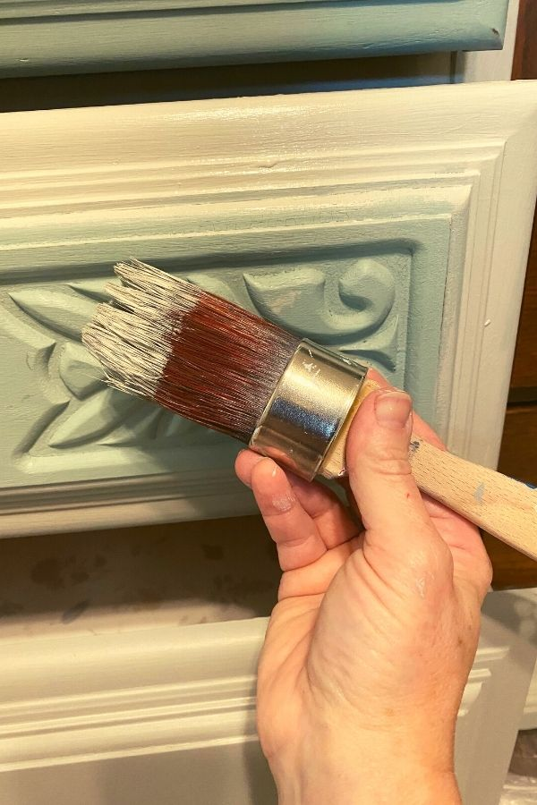 The Baja Gray covers well over the prior greenish blue chalk paint