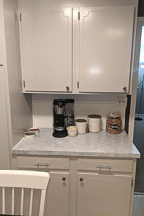 Another countertop updated in this budget kitchen makeover