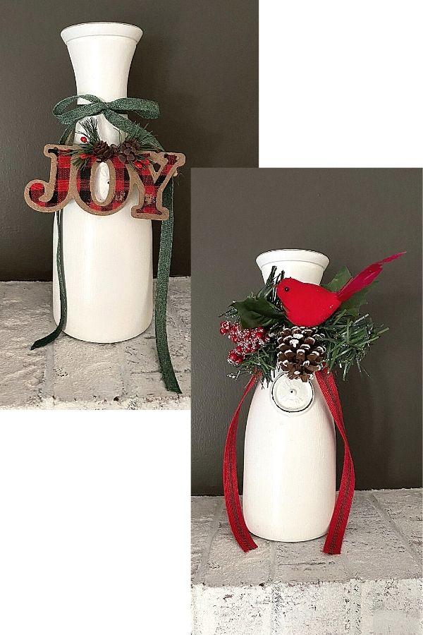 Chalk Painted Milk Bottle For Christmas DIY Decor