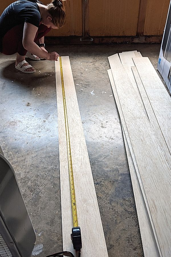 Sanded 1/4 inch plywood sheets ripped into 6 inch planks