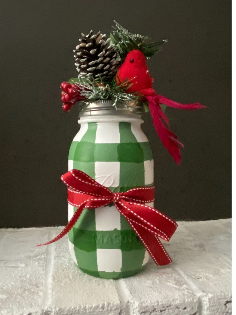 Buffalo Plaid Painted Mason Jars For Christmas DIY Decor