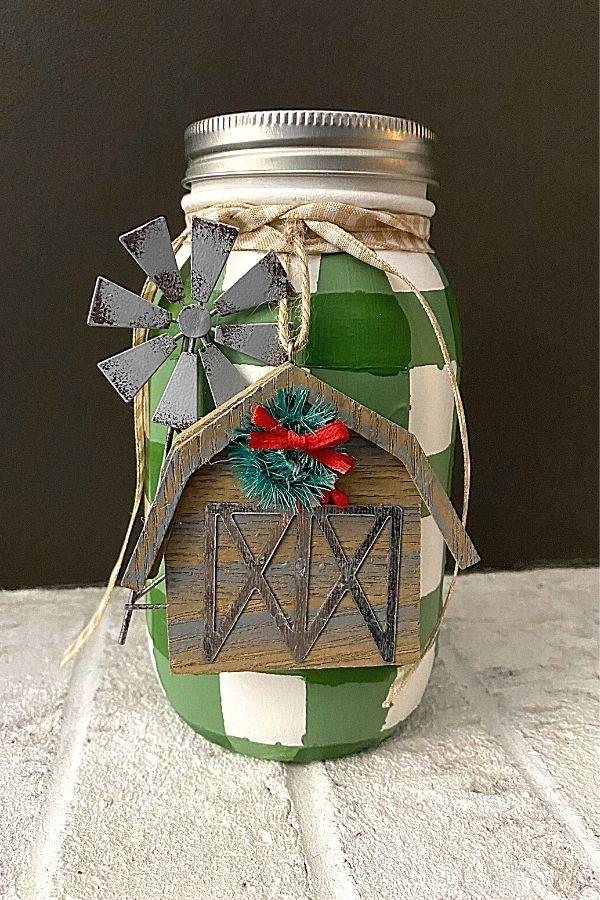Styling Buffalo Plaid Painted Mason Jars For Christmas