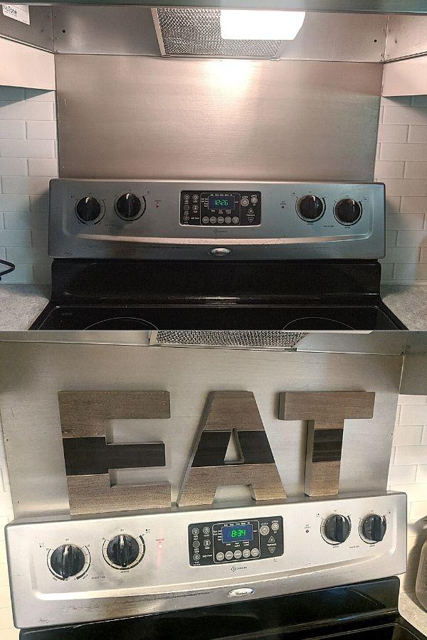 """DIY Range Backsplash and block """"EAT"""" Letters"""