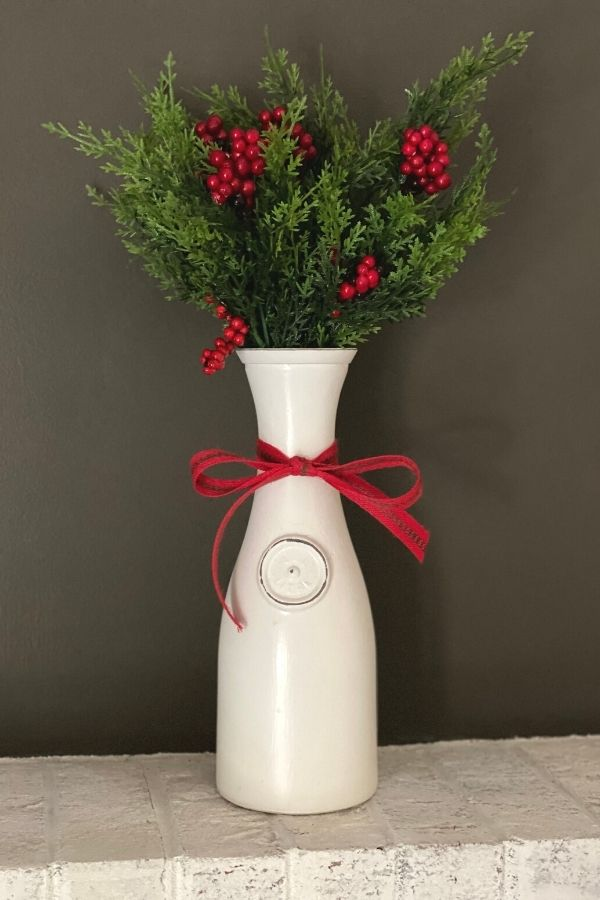 Chalk Painted Milk Bottle For Christmas DIY Painted Decor