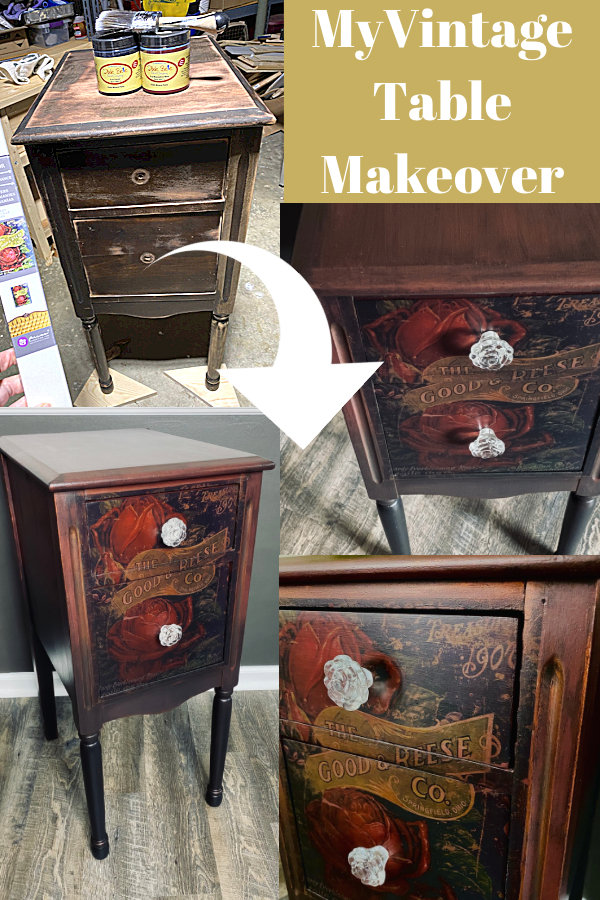 The before and after of my vintage small two-drawer table makeover