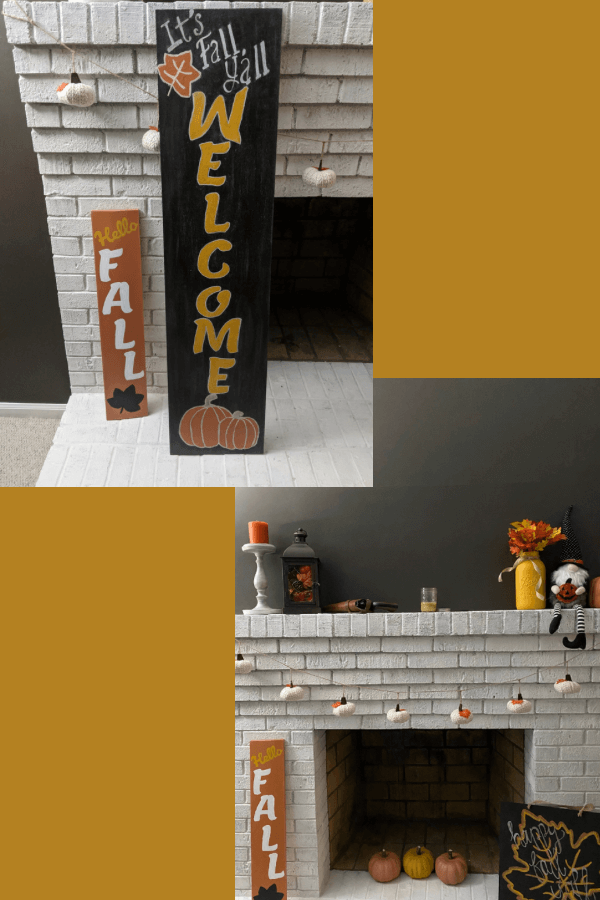DIY Fall Painted Signs and Fall Mantle Decorations