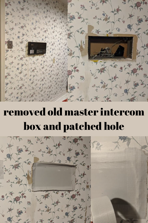 Removal of old master intercom box and patching hole with drywall patch