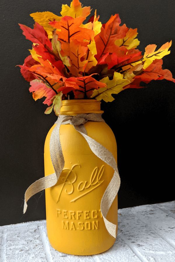Fall Painted Mason Jar Ideas For Decor with Fall Leaves