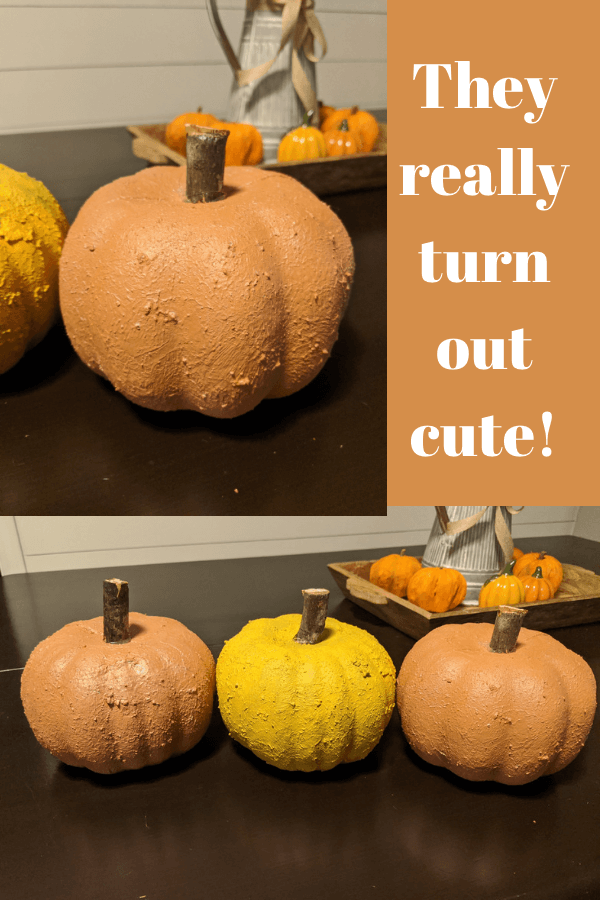 Painted Dollar Tree Foam Pumpkins with Sea Spray and Chalk Paint