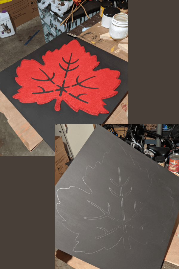 DIY Fall Leaf Traced Sign