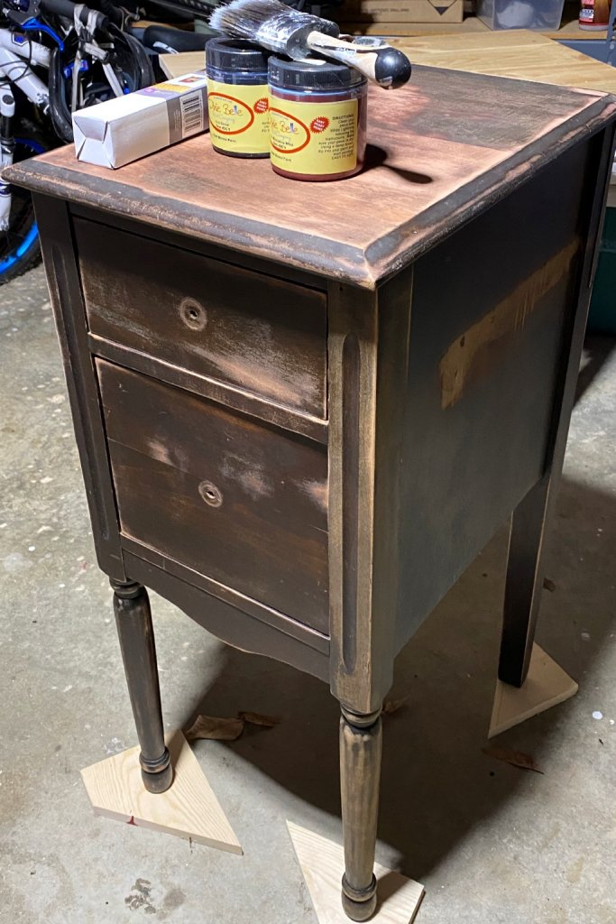 Vintage small two-drawer table before the makeover