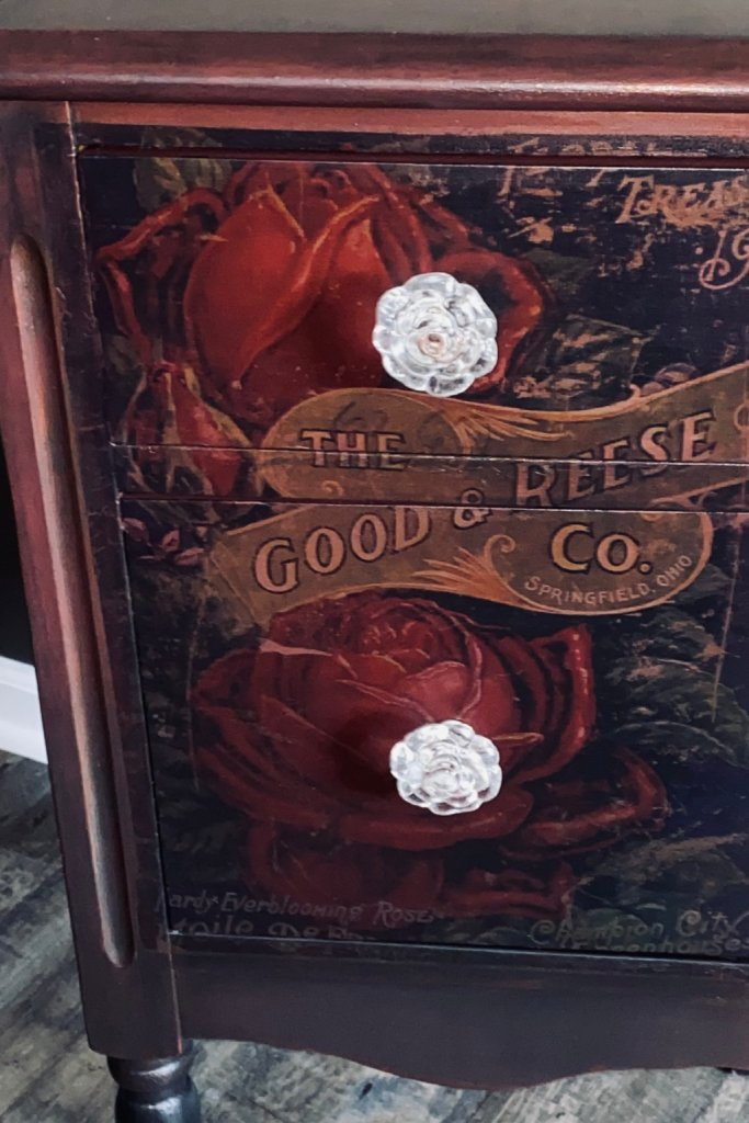 vintage table chest painted with rose knobs