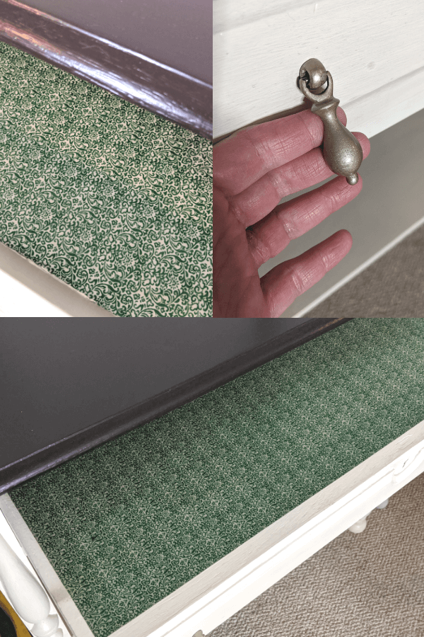 Lining Drawer With Fabric and Spray Paint Hardware