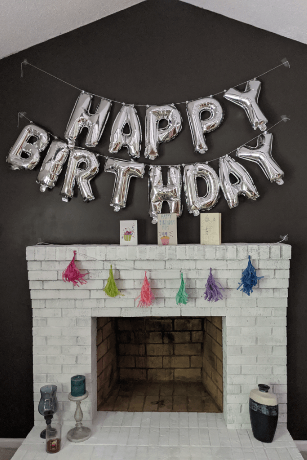 Fireplace Decorated For Birthday